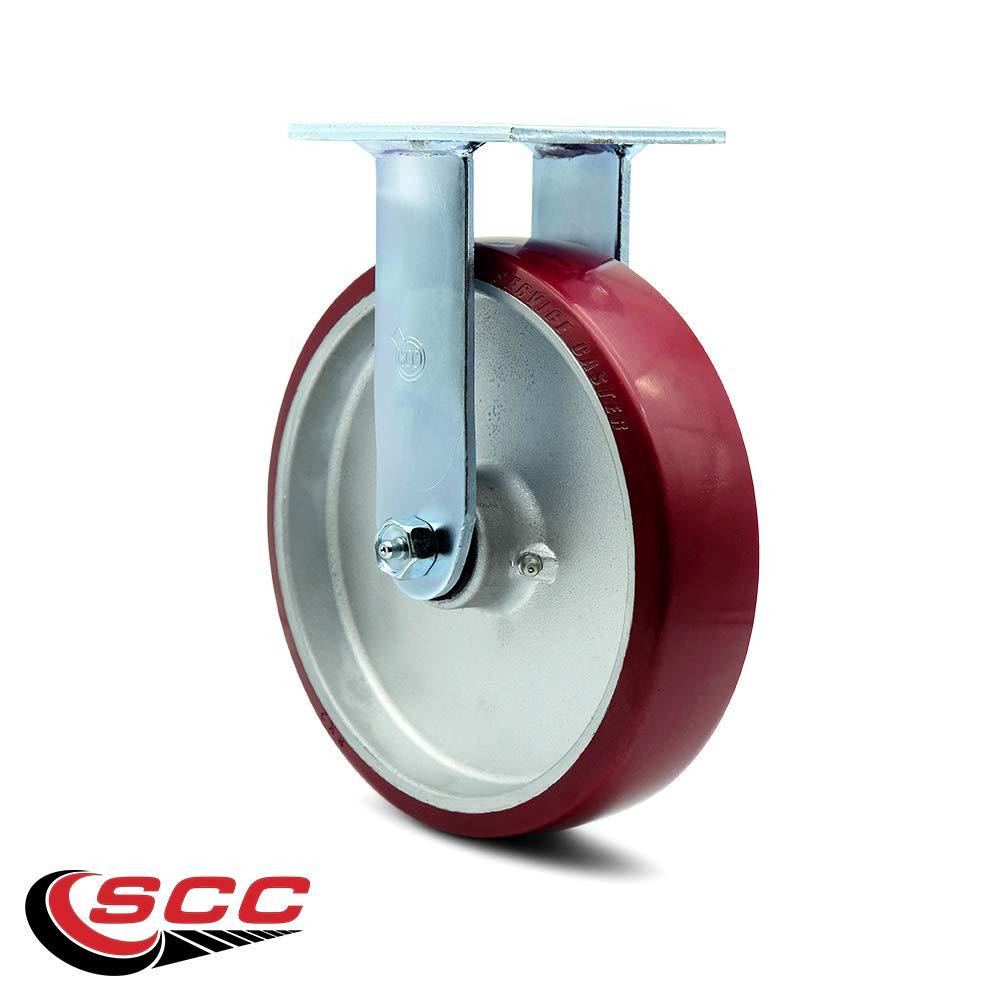 Service Caster - 8'' x 2'' Polyurethane on Aluminum Wheel Rigid Caster - 1,250lbs/Caster