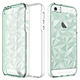 mint iphone 5s case protective - iPhone 5S Case, iPhone 5 Case, iPhone SE Case, BENTOBEN Clear Crystal Bling Shockproof Slim 2 in 1 Hybrid Soft TPU PC Bumper 3D Diamond Prism Protective Phone Case for iPhone SE 5S 5, Clear Mint Green