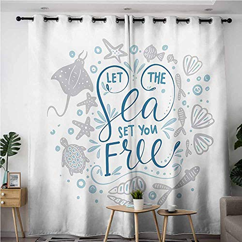 AndyTours Simple Curtains,Nautical,Let The Sea Set You Free Quote with Shellfish Turtle and Stingray,Blackout Draperies for Bedroom,W120x96L,Pearl Navy Blue Pale Blue