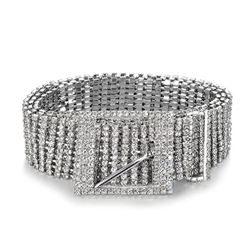 New Metal Chain Belts Bride Wide Bling Female Crystal Waist Belt (New Belt Bling Buckle Crystal)
