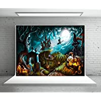 7X5ft (220x150cm) Halloween Photography Backdrop Party Photo Booth Backdrop Castle Pumpkin Rip Night Background for Children,Adult