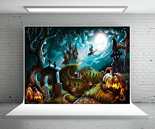 7X5ft (220x150cm) Halloween Photography Backdrop Party Photo Booth Backdrop Castle Pumpkin Rip Night Background for Children,Adult (Halloween Photo Backdrops)