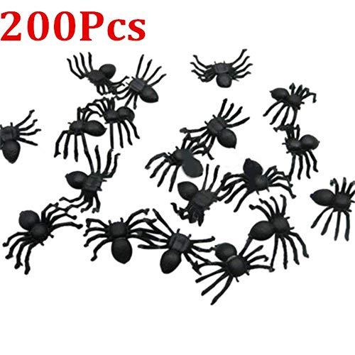 Hot Sale!DEESEE(TM)20/50/100/200PC Halloween Mini Plastic Black Luminous Spider Prank Joking Birthday Toys DIY Decorative Spiders 2cm Spider Party Props (D:200PC)]()