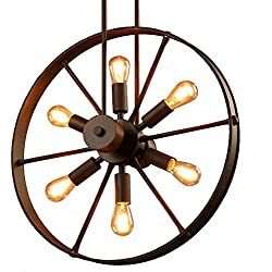 SUSUO Lighting 6 Lights Industrial Country Style Chandeliers Wheel Pendant Lighting Metal Fixture for Dinning Table,Bar,Foyer,Rustic Docer