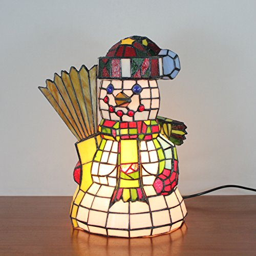 (Tiffany Style Snowman with Broom Table Lamp Children's Lamp Night Light)