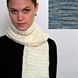 ''Beginner's Scarf'' Knit Kit with Encore Worsted Colorspun Yarn - BLUE STRATA