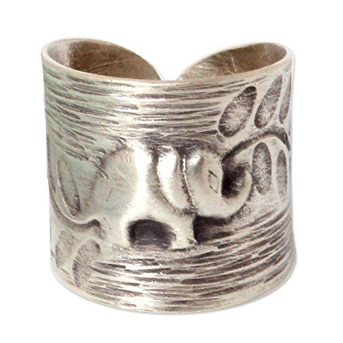 NOVICA .925 Sterling Silver Fair Trade Animal Theme Wrap Ring, Thai Forest Elephant' -
