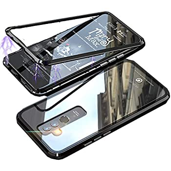 HIKERCLUB Huawei Mate 20 Lite Case Magnetic Adsorption Phone Case Built-in Strong Magnet Metal Flip Frame + Clear Tempered Glass Back Ultra Slim Cover for ...