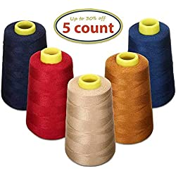 KINGSO 5 Assorted Polyester Sewing Thread Sets Spool,Serger Cone Thread Overlock Cone Thread 1200 Yard Each Perfect for Serger Quilting