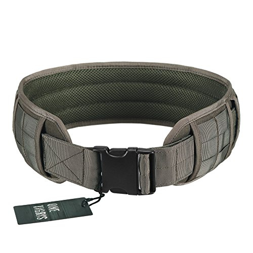 OneTigris Padded Patrol Belt Dual-use MOLLE Belt with Mesh Lining for Shooting Airsoft Wargame Paintball Hunting (Ranger Green - 1000D Nylon, Medium)