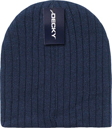 Navy Blue Cable Beanie Stocking Cap Winter Stocking Hat Biker Skully - Cuffless Beanie Knitted Cable