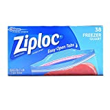 ziploc large freezer - Ziploc Freezer Bags Value Pack, Quart Size, 38 ct