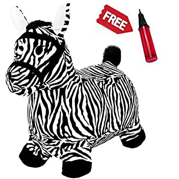 Zebra Hopping Horse Outdoors Ride On Bouncy Animal Play Toys Inflatable Hopper Plush Covered
