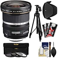 Canon EF-S 10-22mm f/3.5-4.5 USM Ultra Wide Angle Zoom Lens with Tripod + 3 Filters + Hood + Kit for EOS 70D, 7D, Rebel T5, T5i, T6i, T6s, SL1 Camera