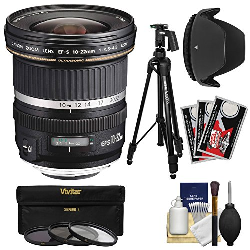 (Canon EF-S 10-22mm f/3.5-4.5 USM Ultra Wide Angle Zoom Lens with Tripod + 3 Filters + Hood + Kit for EOS 70D, 7D, Rebel T5, T5i, T6i, T6s, SL1 Camera)