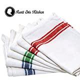 Kitchen Dish Towels with Vintage Design for Kitchen Decor Super Absorbent 100% Natural Cotton Kitchen Towels (Size: 25.5 x 15.5 inches) White with Red, Green and Blue, 6-Pack