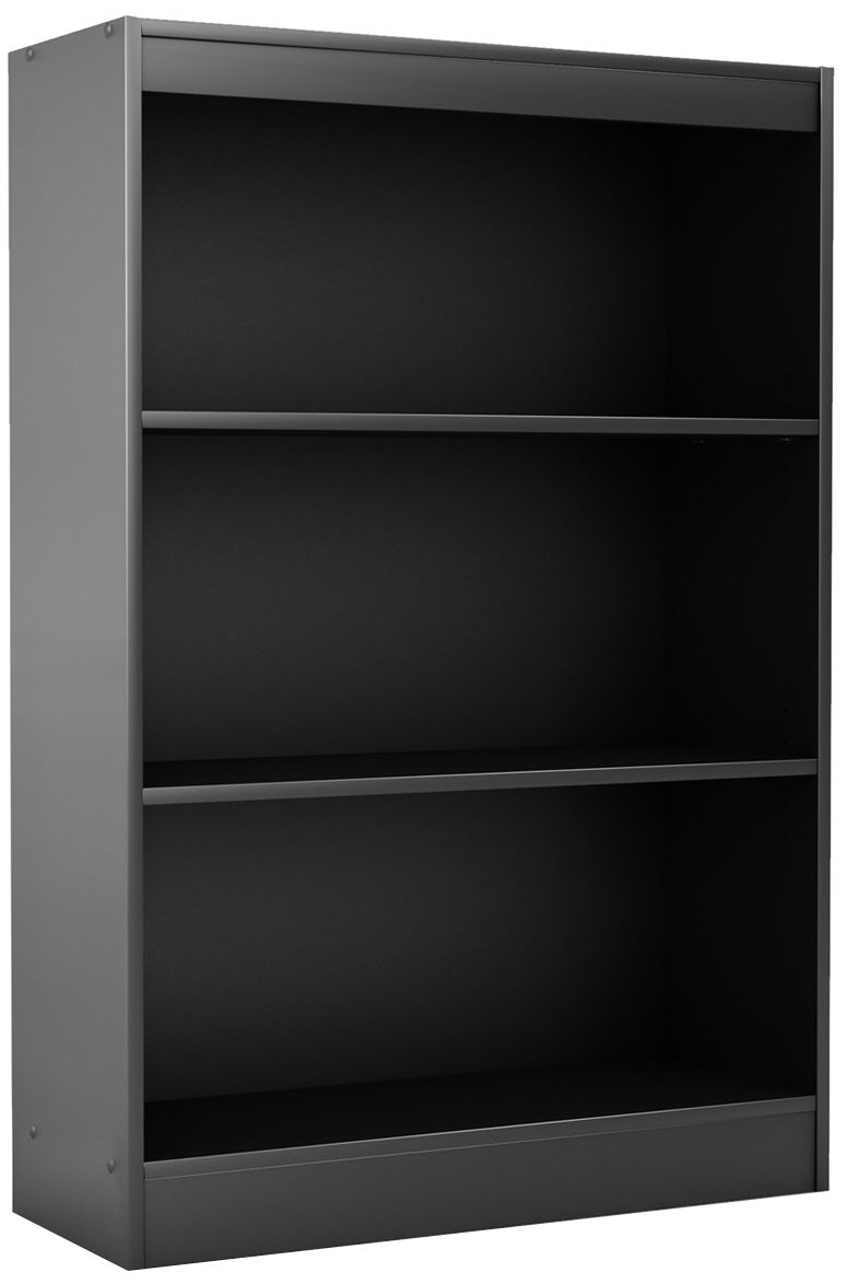 South Shore 3-Shelf Storage Bookcase, Pure Black