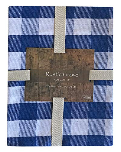 Lintex Farm Check Gingham Indoor/Outdoor Casual Cotton Tablecloth, Farm Buffalo Plaid 100% Cotton Weave Kitchen, Patio and Dining Room Tablecloth, 52 x 70 Oblong/Rectangle, Cornflower -