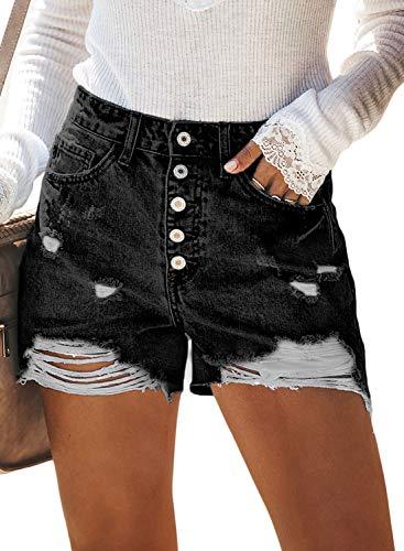 BLENCOT Women's Ladies Vintage Ripped High Rise Frayed Hem Stretchy Distressed Denim Shorts Jean Black 31-32 XL