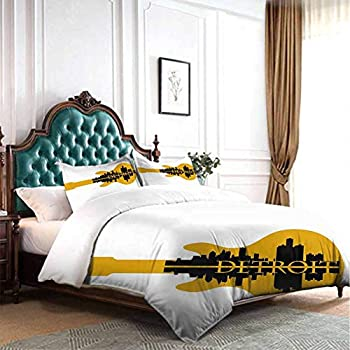 Image of Home and Kitchen dsdsgog Soft Warm Detroit Decor,High Rise Buildings Silhouette Reflection Electric Guitar Instrument Music,Yellow Black 90x104 inch for Girl Boys Daycare Preschool Lightweight