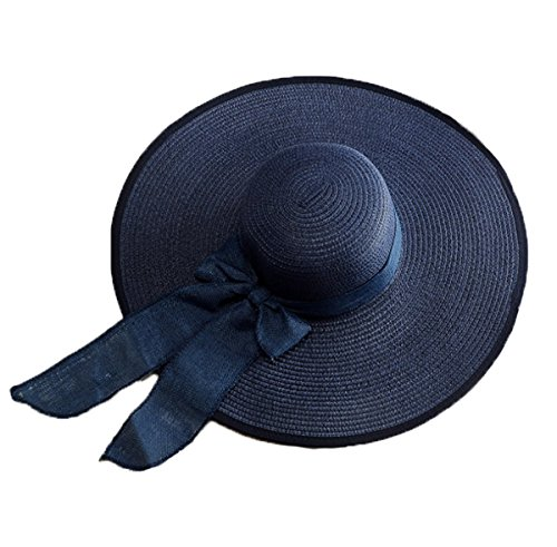 AngelCity Brides Womens Beach Hat Striped Straw Sun Hat Floppy Big Brim Hat ()