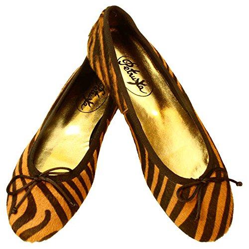 Ballerinas Amur- Pony-Fell im Tiger-Look Animalprint im Farbton Cognac-Braun