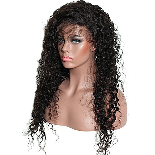 Brazilian Remy Hair 130% Density Full Pre Plucked Natural Hairline Loose Deep Curly Long Human Hair Lace Front Wigs for African American Black Women Black Women with Baby Hair 14inch by Sarah Wig (Image #3)