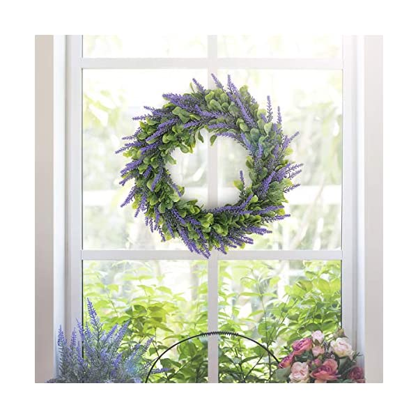 HANTAJANSS Artificial Lavender Flower Wreath for Front Door 15 Inches, Purple Silk Fake Flowers Green Leaves Garland for Spring, Summer, Winter, Home, Wall, Wedding Décor