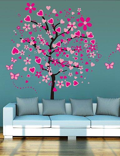 L S Bellissimo Albero Colore Rosa Pesca Motivo Farfalla Su