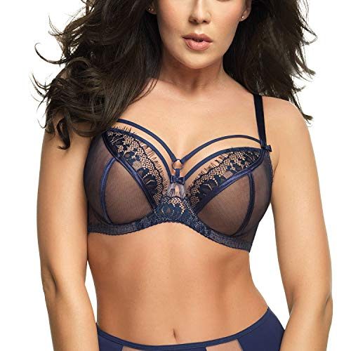Gorsenia K496 Women's Paradise Navy Blue Underwired Full Cup Bra 34L (HH UK)
