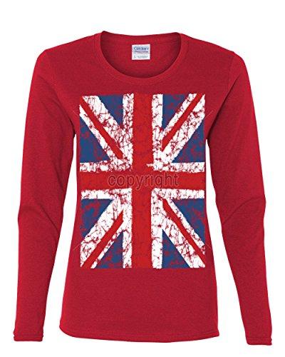 (Union Jack Long Sleeve T-Shirt United Kingdom Distressed British Flag Red L)