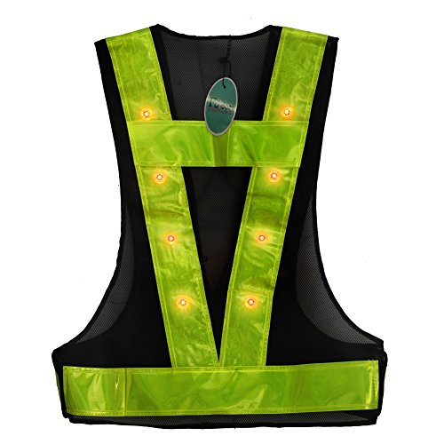 (Fuloon 16 LED Light Up Safety Vest with Reflective Vest (Black with Green))