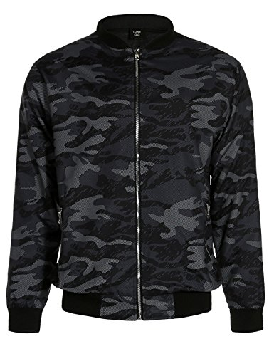 Camo Camouflage Printed Mock Neck Ribbed Cuffs Zip Up Side Pockets Bomber - Bomber Hunting Style Jacket