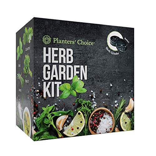 Planters' Choice Organic Herb Growing Kit + Herb Grinder - Complete Kit to Easily Grow 4 Herbs from Seed (Basil, Cilantro, Chives & Parsley) with Comprehensive Guide | Unique Gift (Herbs)