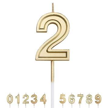 Amazon.com: Gesentur - 1 vela de cumpleaños con números ...