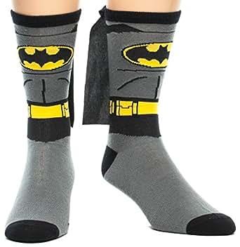 DC Comics Batman Costume Crew Sock with Cape OS Grey