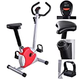 GHP 220Lbs Capacity Multi-Resistance 7-Level Adjustable Height Red Exercise Bike Globe House Products