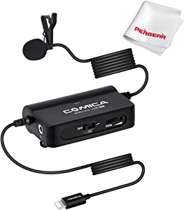 Comica CVM-SIG.LAV V05 MI Lavalier Microphone with Stepless Gain Control Real-time Audio Monitoring Low-Cut Filter for Lightning Interface iPhone iPad iPod Live-Streaming, YouTube Vlogger Podcast