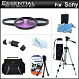 Essential Accessory Kit For Sony DCR-SX45 Handycam Camcorder Includes 50'' Tripod + Deluxe Case + 3PC Filter Kit (UV-CPL-FLD) + Cleaning Kit + Screen Protectors