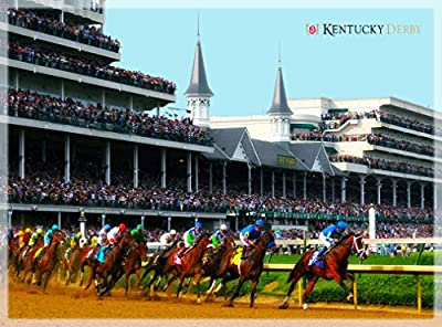 Kentucky Derby Horse Race Run for the Roses United States of Amerca Travel Advertisement Art Poster Print. Poster measures 10 x 13.5 inches