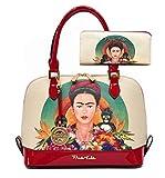 Frida Kahlo Licensed Purse Wallet Set, Jungle themed Handbag (Red)