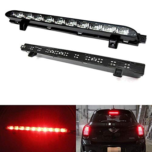 iJDMTOY Black Chrome Lens Red LED 3rd Brake Lamp For 07-14 MINI Cooper R56 R57 R58 R60, OEM Fit High Mount Brake Light Powered by 10 Brilliant Red LED Lights