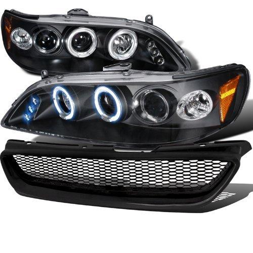 Honda Accord 2Dr Black Halo LED Projector Headlights+Mesh Grille (Accord Honda Projector Headlights 02)