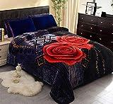 JML Fleece Blanket, Plush Blanket King Size 85' x 93', 10 Pounds Korean Style Mink Blanket - Silky Soft and Warm, 2 Ply A&B Printed Raschel Bed Blanket, Black Rose