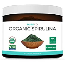 USDA Organic Spirulina Powder 8OZ (Vegan) 75 Servings of this Highest Quality Superfood: Blue Green Algae (NON-Irradiated) NON-GMO - Perfect to add a Powerful Nutrient Boost to Smoothies & Juices