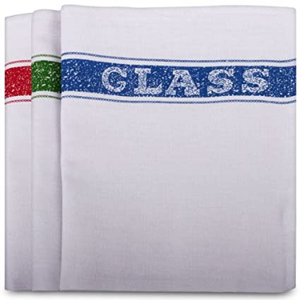 Pa/ños de cocina Robert Scott dise/ño de palabra en ingl/és Glass color blanco 10 unidades. algod/ón, 10 unidades