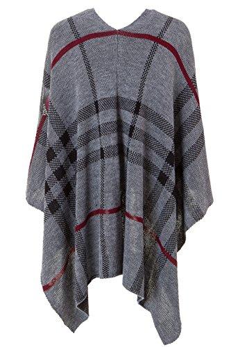Italienische Mode - Poncho - capa - Cuadrados - para mujer Grey - Grey/black