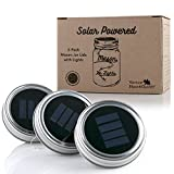 Vermont Home & Garden - 3 Pack Mason Jar Solar Lights Screw on Silver Lids - Warm Soft White Light - Jars NOT included