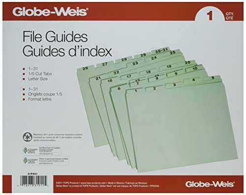Globe-Weis Recycled Daily Indexed Top Tab Guides (GLW31PX91) ()