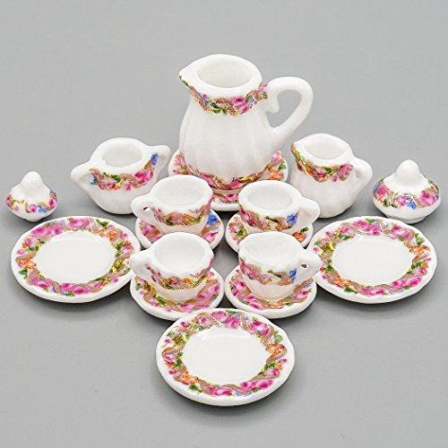 Odoria 1:12 Miniature 15PCS Purple Porcelain Chintz Tea Cup Set Dollhouse Kitchen Accessories